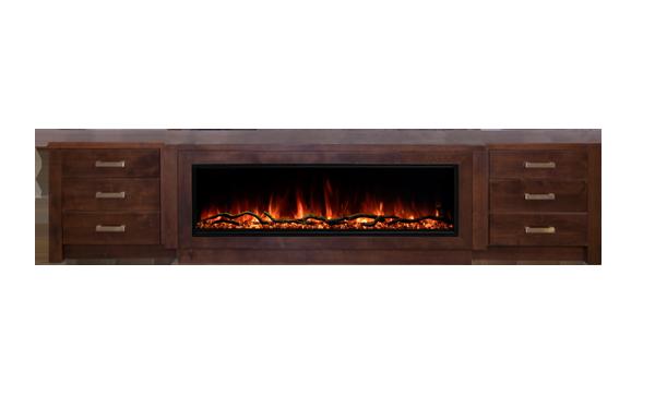 Modern-credenza-dark-brown-cutout-fireplace