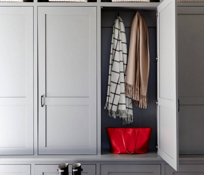 transitional mudroom cabinetry in gray
