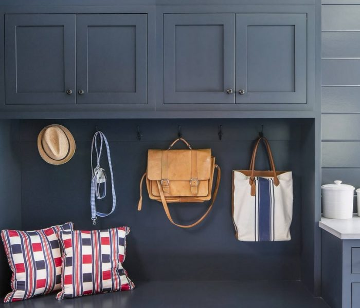 traditional mudroom cabinetry in blue