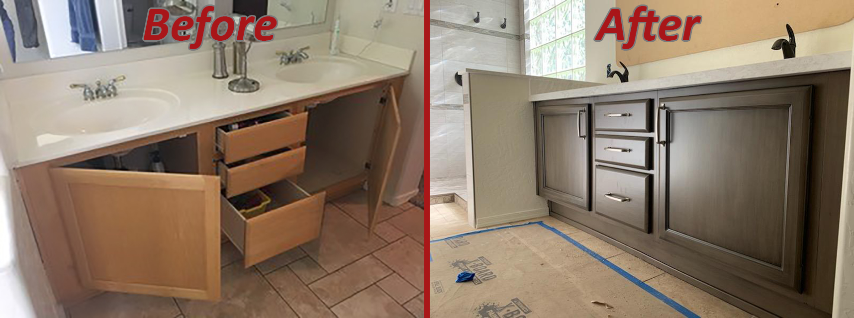 before and after bathroom remodel double vanity sink transitional style in dark wood stain