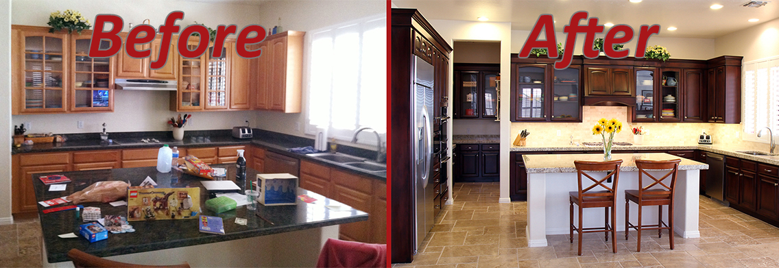 before and after kitchen remodel traditional style in dark wood stain