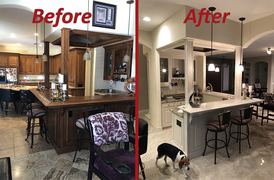 before and after kitchen remodel traditional style in white with quartz countertops