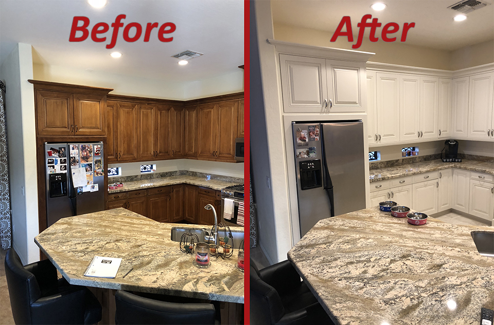 before and after kitchen remodel traditional style in white with chrome accents