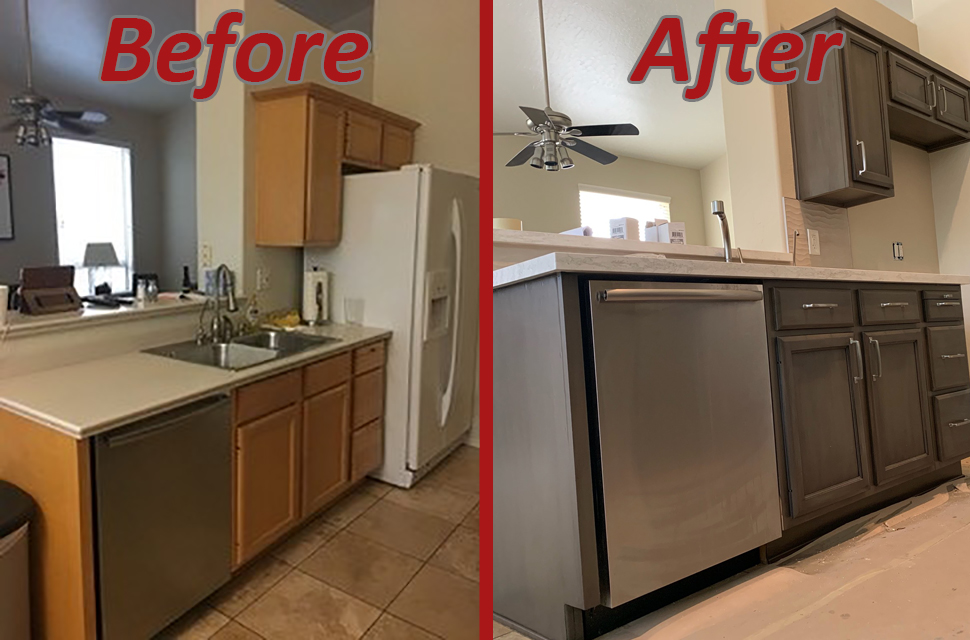 before and after kitchen remodel transitional style
