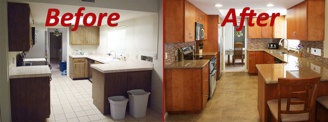 before and after kitchen remodel transitional style in natural wood stain