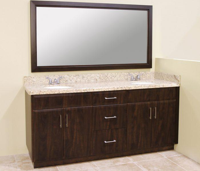 modern style bathroom vanity in dark wood stain and white quartz countertops