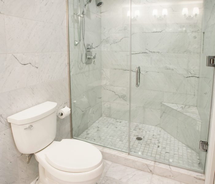 modern style bathroom in marbled white quartz