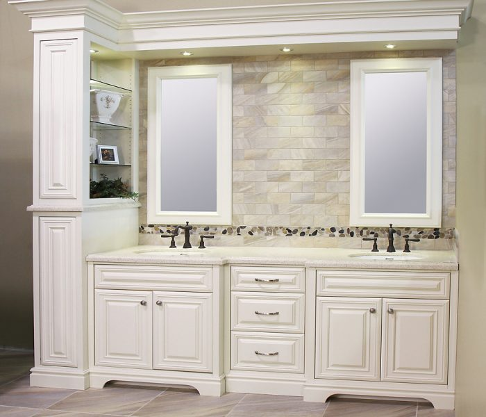transitional style bathroom vanities in antique white with white quartz countertop