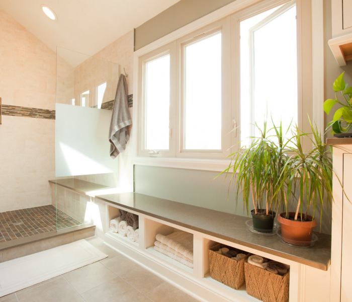 transitional style bathroom bench in white and natural wood stain