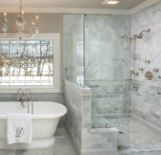 transitional style bathroom shower and tub in stone quartz
