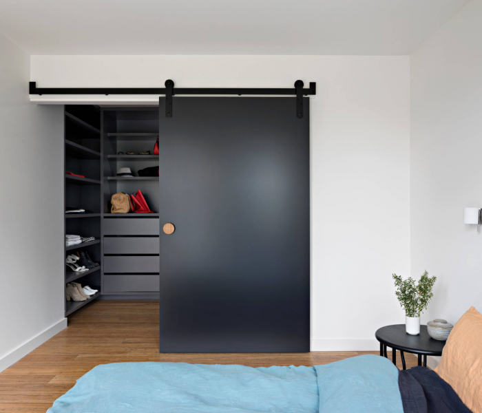 modern style bedroom closet in blue