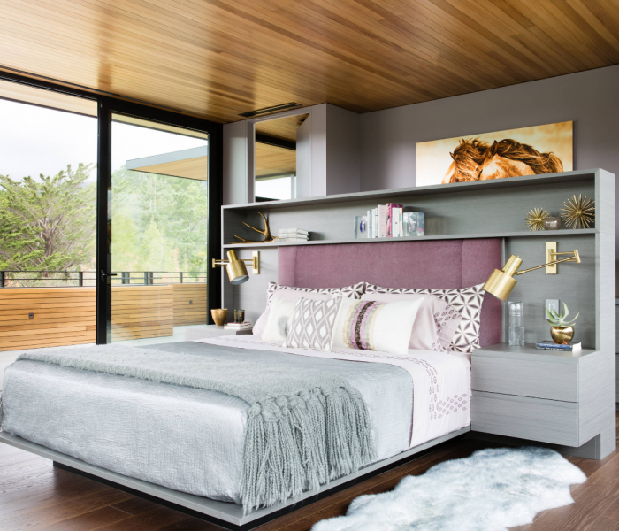 modern style bedroom in gray and natural wood accents