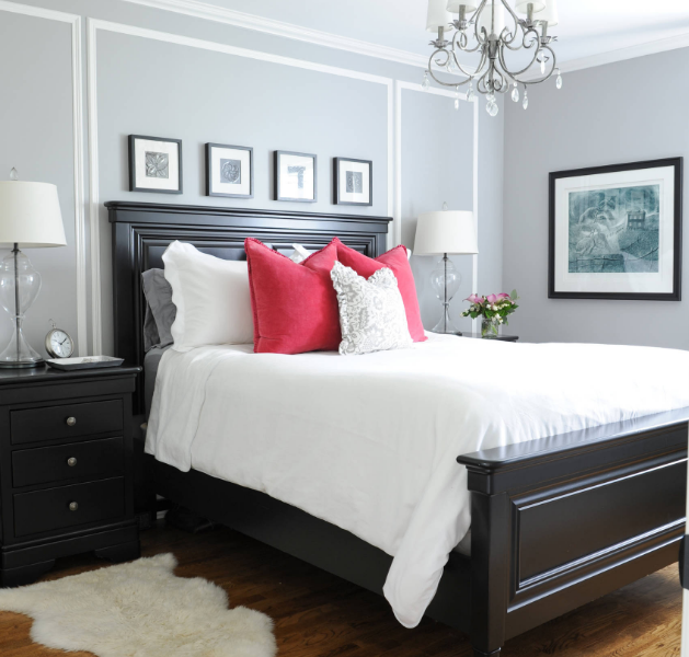 transitional style bedroom in dark wood stain