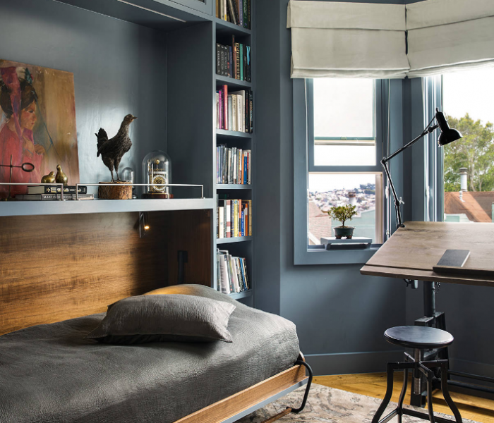 transitional style bookcase murphy bed in blue with natural wood accents