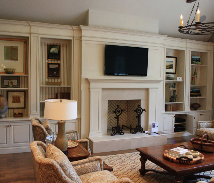 traditional style bookcase media wall fireplace in white