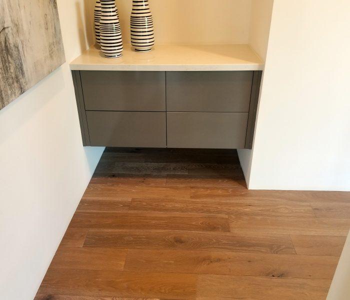 modern style bookcase credenza in brown with white quartz countertop