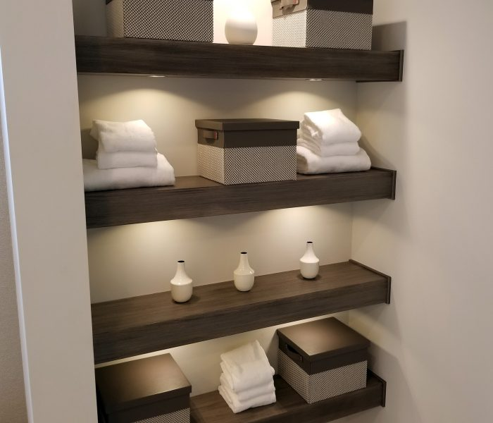 modern style bookcase in dark wood stain on white