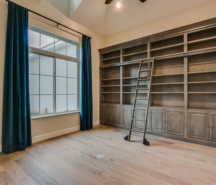 traditional style bookcase in antique wood stain