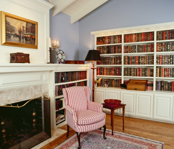 traditional style bookcase in white