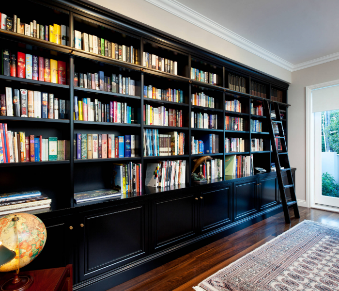 transitional style bookcase in black with ladder