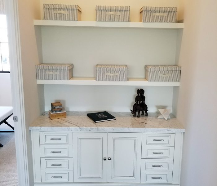 transitional style bookcase credenza in white with white quartz table top