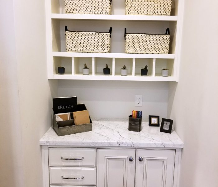 transitional style bookcase credenza in white with white table top