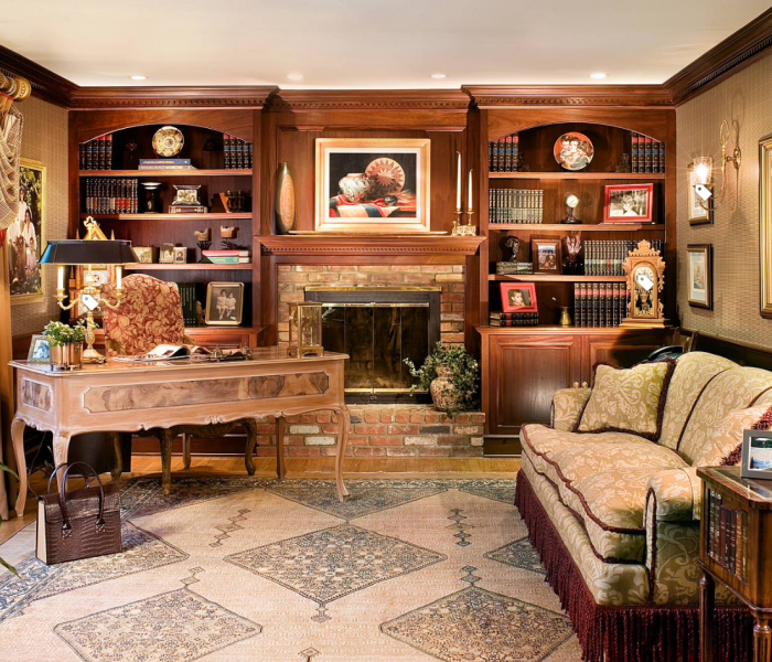 transitional style bookcase in dark wood stain and brick