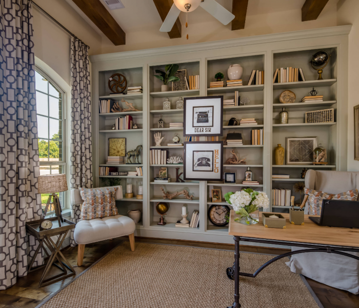 transitional style bookcase in gray