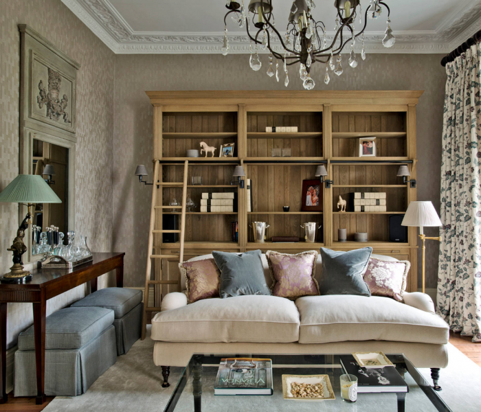 transitional style bookcase in natural wood stain