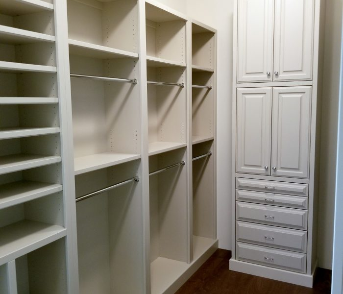 transitional style closet in white