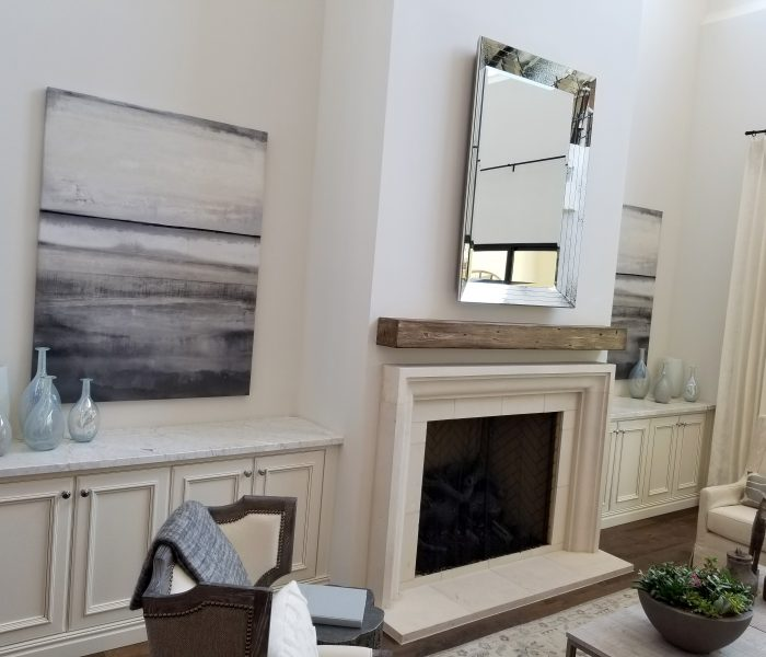 transitional style dining fireplace credenza in white with white quartz countertops