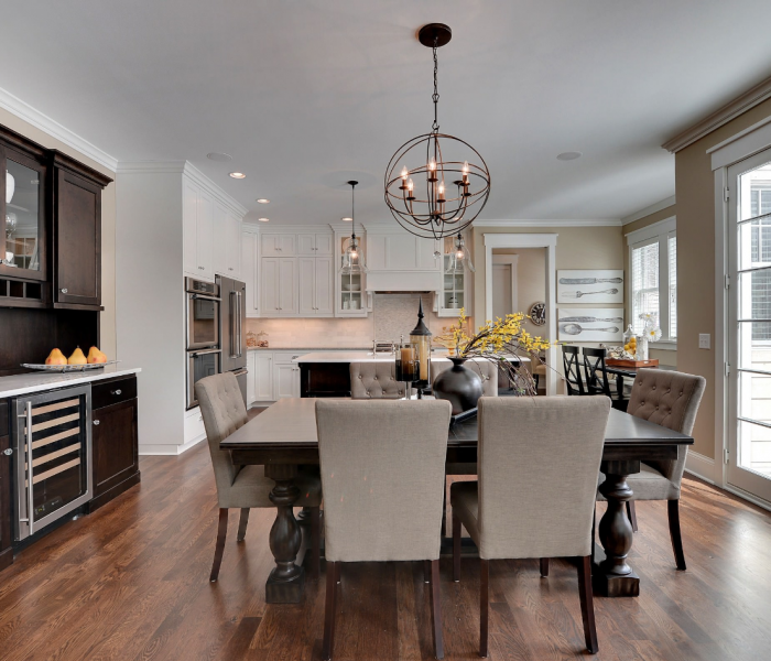 transitional style dining room in dark wood stain and white