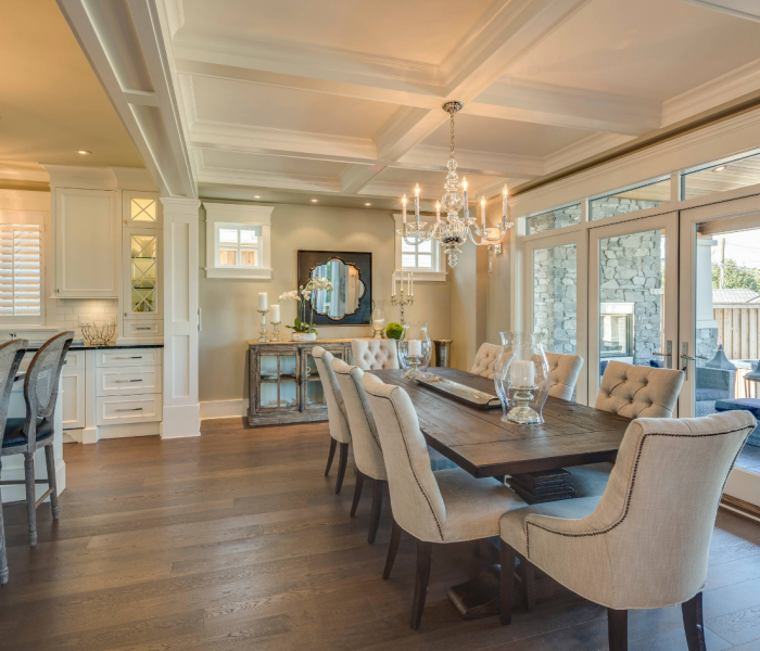 transitional style dining room in antique wood finish and white