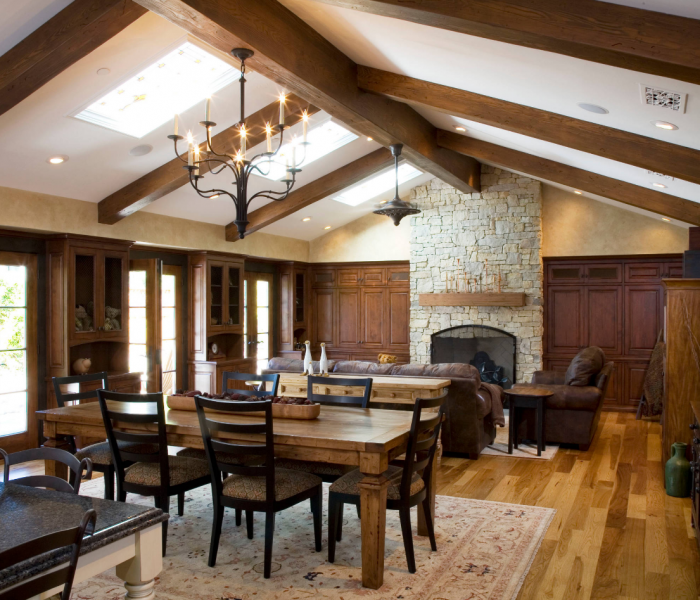 transitional style dining room in dark wood stain and natural brick