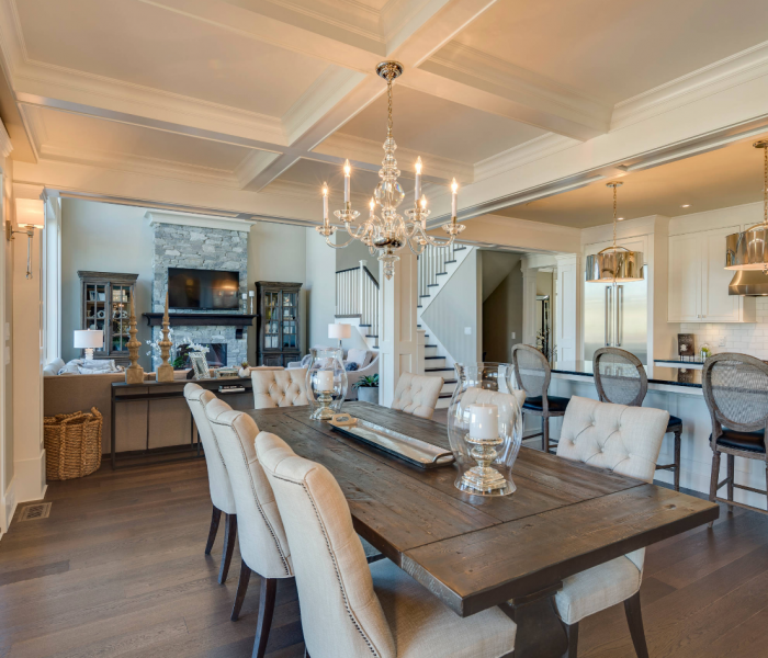 transitional style dining room in white and antique wood stain