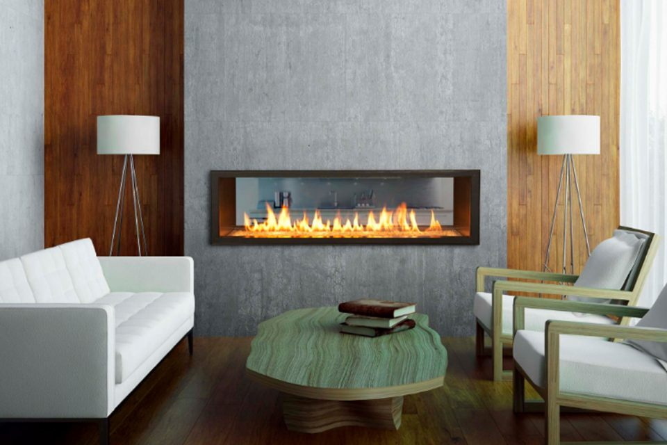 modern fireplace room partition in stone block