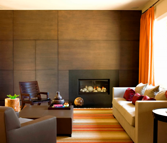 modern style fireplace in dark wood stain
