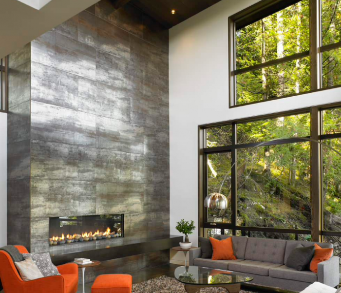 modern style fireplace in metallic tile