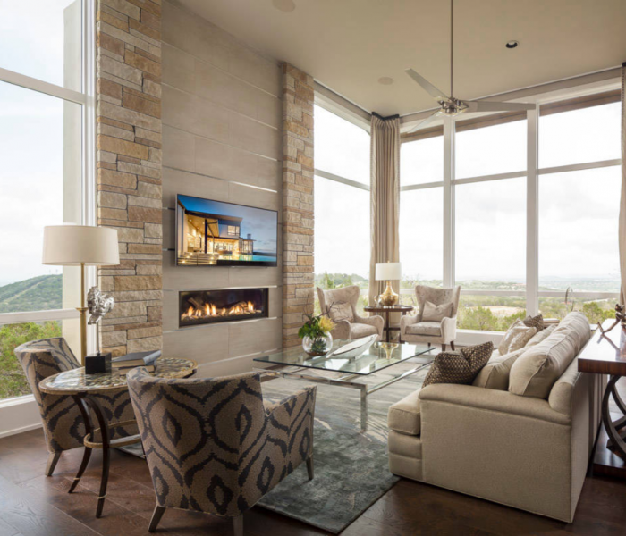 modern style fireplace in natural stone and brick