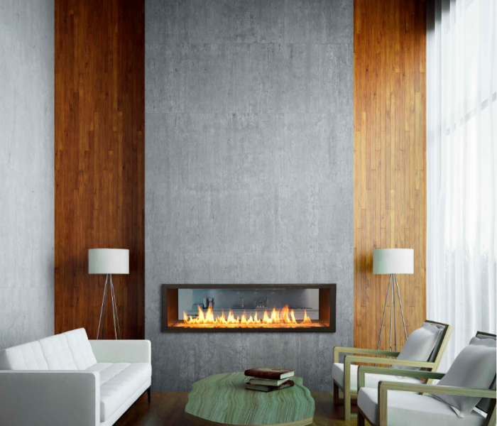modern style fireplace in stone with wood stained accents