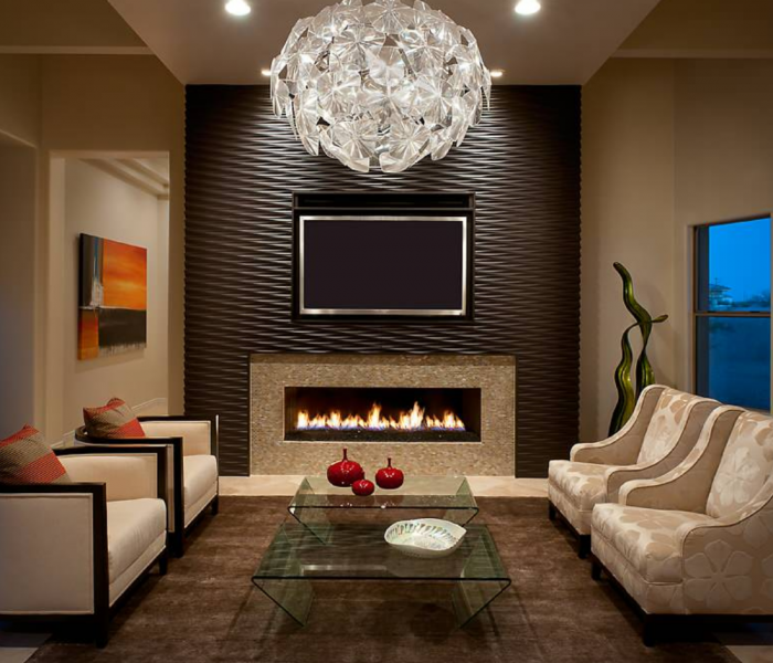 modern style fireplace in tiled wave