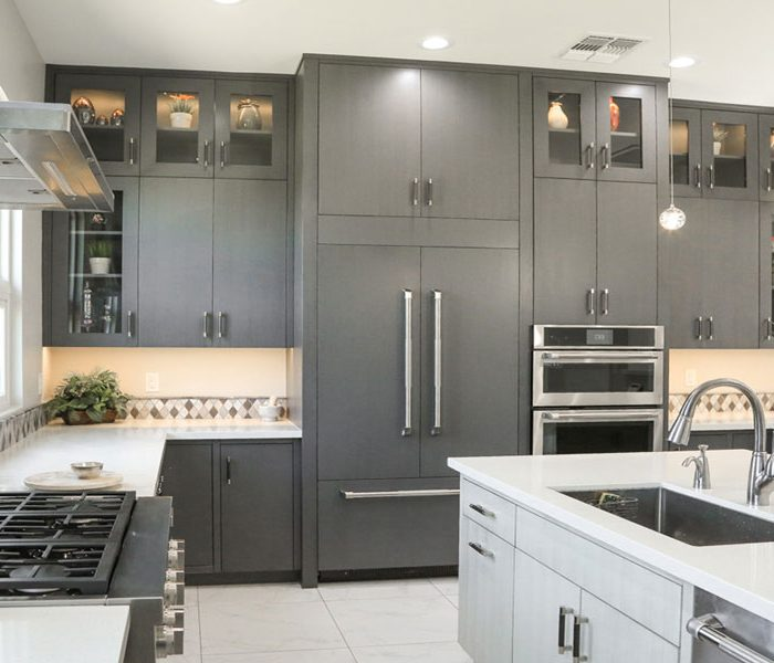 modern style kitchen in two tone gray and white with white quartz countertops