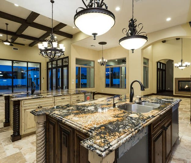 traditional style kitchen in two tone dark and white antique wood stain