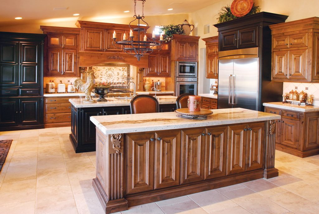 transitional style kitchen with island in black and dark wood stain with white quartz countertops