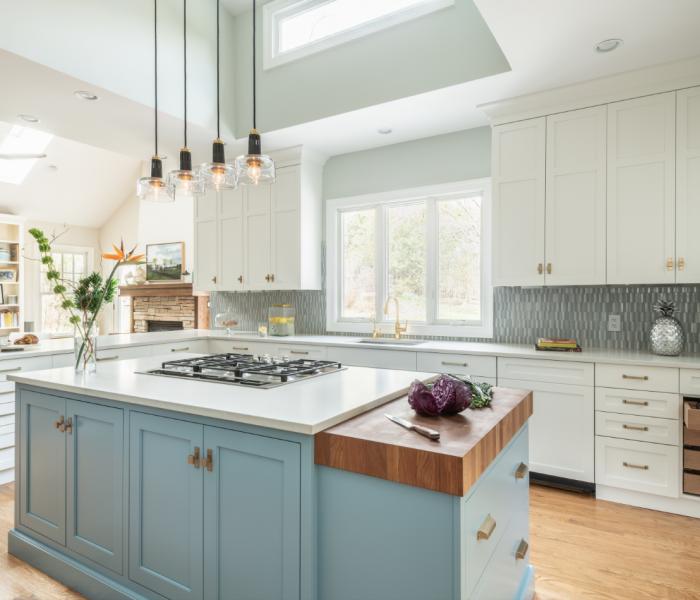 custom-kitchen-transitional-teal-wood-white-quartz-countertops