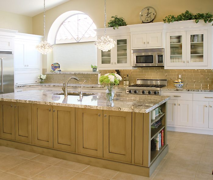 transitional style kitchen in two tone white and gray with natural stone quartz