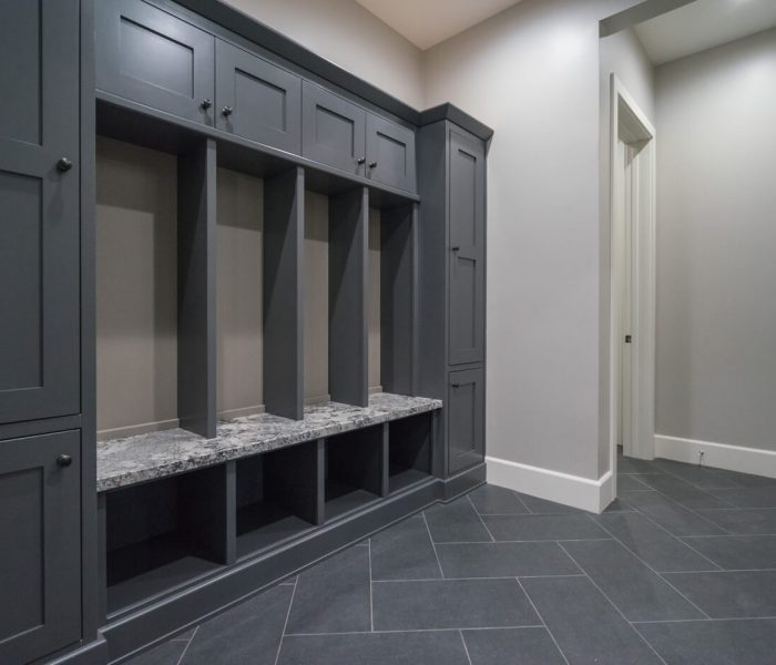 transitional style laundry room in gray with