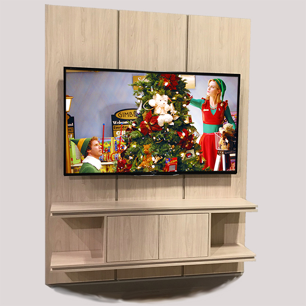 stone creek furniture modern media wall in natural wood stain wall mounted
