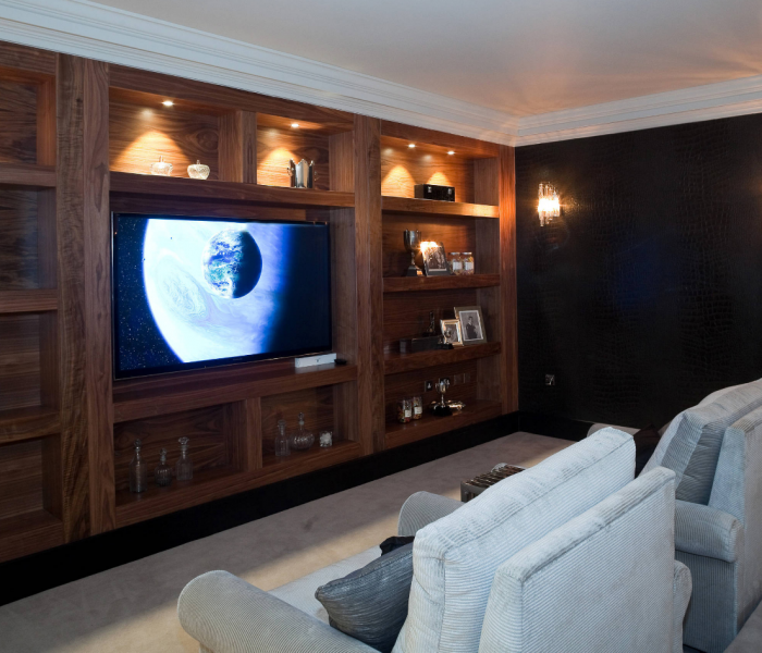 modern style media wall in dark wood stain built in
