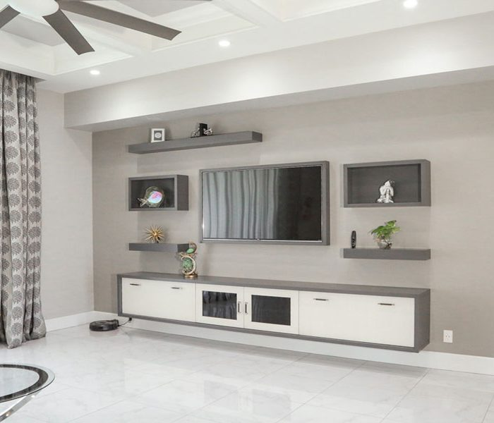 modern style mediawall in gray and white